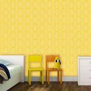 Papel de Parede Auto Adesivo Lavável Abstrato ab0029 Retrô Vintage Amarelo
