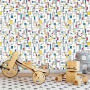 Papel de Parede Auto Adesivo Lavável Abstrato Arte Abstrata Colorida AB0036