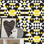 Papel de Parede Auto Adesivo Lavável Abstrato ab0052 Geometrico Amarelo e Preto