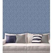 Papel de Parede Auto Adesivo Lavável Abstrato Losango Azul AB0055