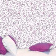 Papel de Parede Adesivo Lavável Floral Folhas Violetas F0018