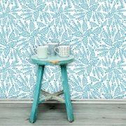 Papel de Parede Adesivo Lavável f0020 Floral  Folha Azul