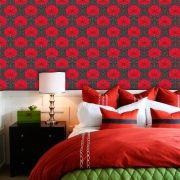 Papel de Parede Adesivo Lavável Floral Clássico Vermelho F0030