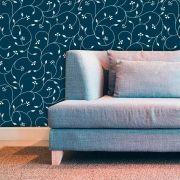 Papel de Parede Adesivo Lavável Floral Laços Azuis F0036