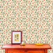 Papel de Parede Adesivo Lavável  f0045 Floral Xadrez Vintage