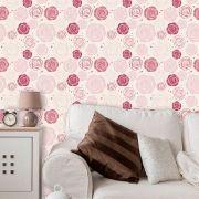 Papel de Parede Adesivo Lavável Floral Rosas Redondas F0048