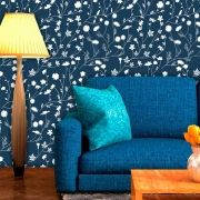 Papel de Parede Adesivo Lavável Floral Azul Marinho F0049