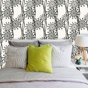 Papel de Parede Adesivo Lavável Floral Preto e Branco F0050