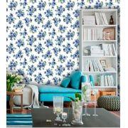 Papel de Parede Adesivo Lavável f0051 Floral Azul Marinho Delicado