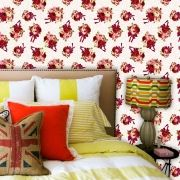 Papel de Parede Adesivo Lavável f0054 Floral Clássico Vermelho