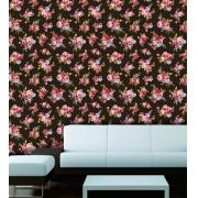 Papel de Parede Adesivo Lavável Floral Vintage Preto F0055
