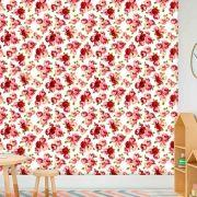Papel de Parede Adesivo Lavável f0059 Floral Rosadas e Vermelhas
