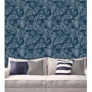 Papel de Parede Adesivo Lavável f0065 Floral Azul Marinho
