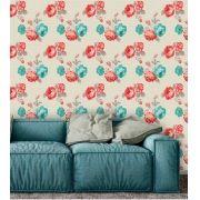Papel de Parede Adesivo Lavável f0082 Floral Clássico Rosa e Azul