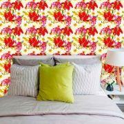 Papel de Parede Adesivo Lavável f0089 Floral Vermelhas e Rosa