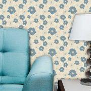 Papel de Parede Adesivo Lavável Floral Azul Vazado F0120
