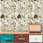 Papel de Parede Adesivo Lavável Floral Moderno Bege F0127