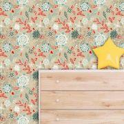 Papel de Parede Adesivo Lavável f0129 Floral Folha e Coração