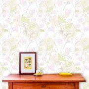 Papel de Parede Adesivo Lavável f0139 Floral Flor coração Clean