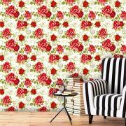 Papel de Parede Adesivo Lavável Floral Vermelho Vibrante F0151