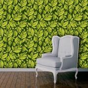 Papel de Parede Adesivo Lavável Floral Folhagem Verde F0155