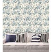 Papel de Parede Adesivo Lavável Floral Retrô Azul F0158