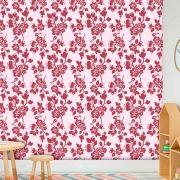 Papel de Parede Adesivo Lavável f0168 Floral Magenta Bordo