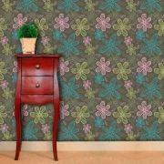 Papel de Parede Adesivo Lavável f0175 Floral Flores Giz