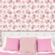 Papel de Parede Adesivo Lavável Floral Clássico Retrô Vintage Rosa F0179