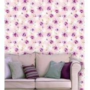 Papel de Parede Adesivo Lavável Floral Violeta Rosada F0203