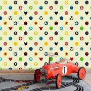 Papel de Parede Auto Adesivo Lavável Ki0164 Mickey