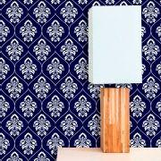 Papel de Parede Lavável Clássico Arabesco ca0073 Invertido Azul