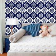 Papel de Parede Lavável Clássico Arabesco ca0074 Invertido Azul e Branco