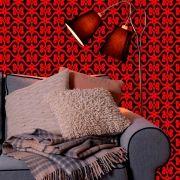 Papel de Parede Lavável Clássico Arabesco ca0099 luxo vermelho