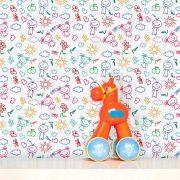 Papel de Parede Infantil Auto Adesivo Lavável 0007 Desenho Canetinha
