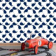 Papel de Parede Infantil Auto Adesivo Lavável 0039 Baleias