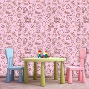 Papel de Parede Infantil Auto Adesivo Lavável 0066 Girl Pink