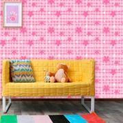 Papel de Parede Infantil Auto Adesivo Lavável 0069 Xadrez rosa