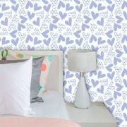 Papel de Parede Infantil Auto Adesivo Lavável Coração Violeta Ki0109