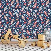 Papel de Parede Infantil Auto Adesivo Lavável Foguete Nave KI0139