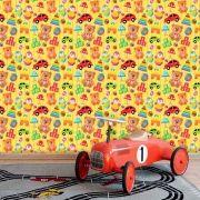 Papel de Parede Infantil Auto Adesivo Lavável Boy Car KI0140