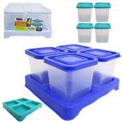 Porta Condimento De Plastico Verde Quadrado Kit Com 4 Pecas