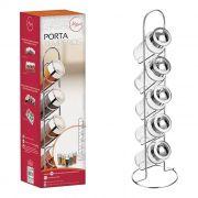 Porta Temperos Art House - Vertical - Vidro - Inox 6 Peças