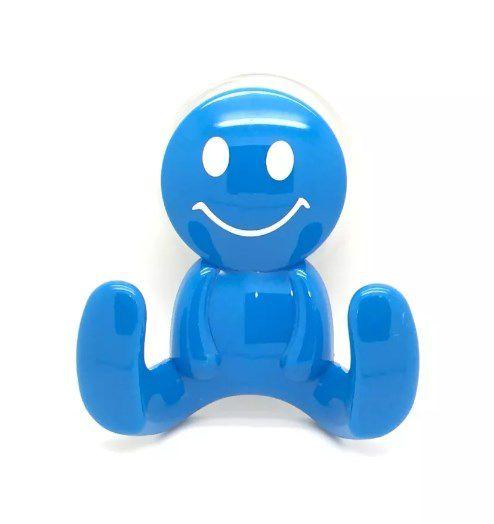 2 Ganchos Ventosa Acrilico Carinha Smiles Azul Art House  - Final Decor