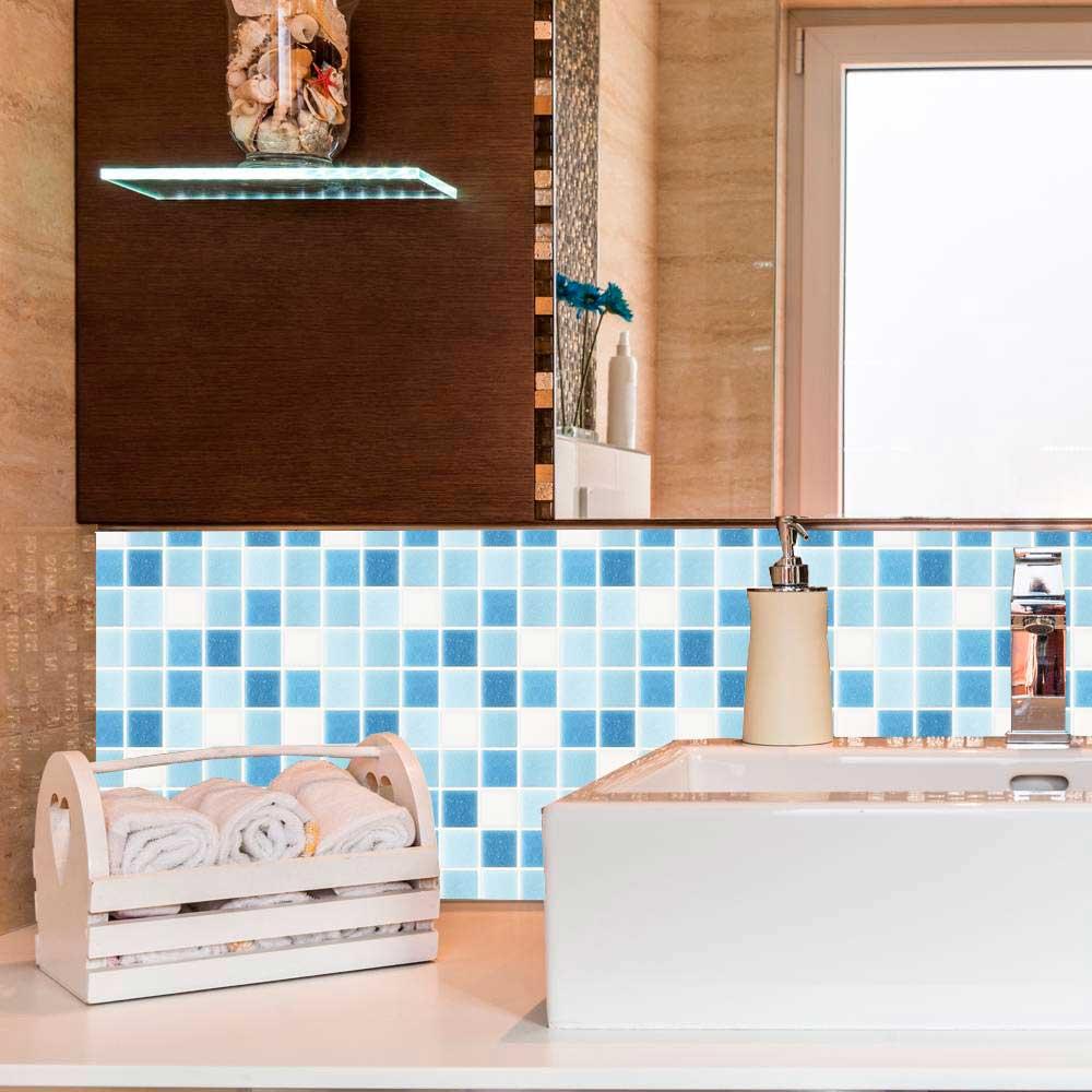 Papel de Parede Auto Adesivo Lavável Pastilha Pa0051 Azul bebe  - Final Decor