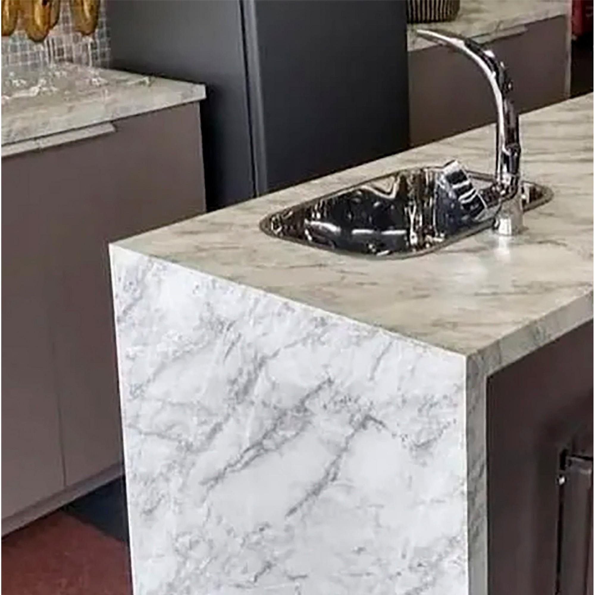 Adesivo Para Móveis Mármore Carrara Branco  0,61 X 2,50m  - Final Decor