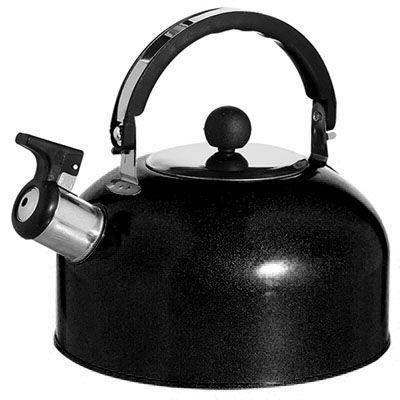 Chaleira De Aço Inox 1,8 Litros Cor Preta Com Apito  - Final Decor