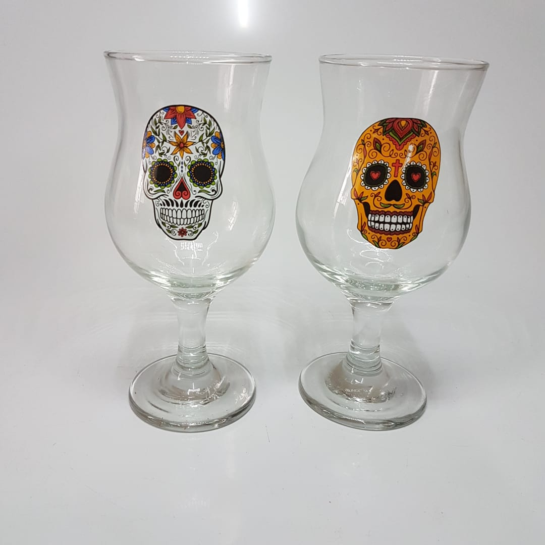 Conjunto 2 Taças de Chopp e Cerveja  de Caveira - 400 Ml  - Final Decor