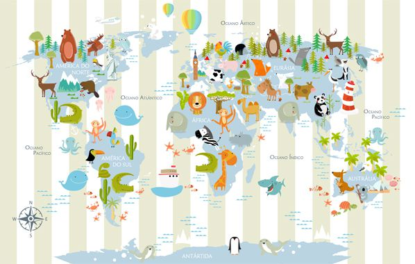 Papel de Parede Adesivo Infantil Mapa Mundi Listras  - Final Decor