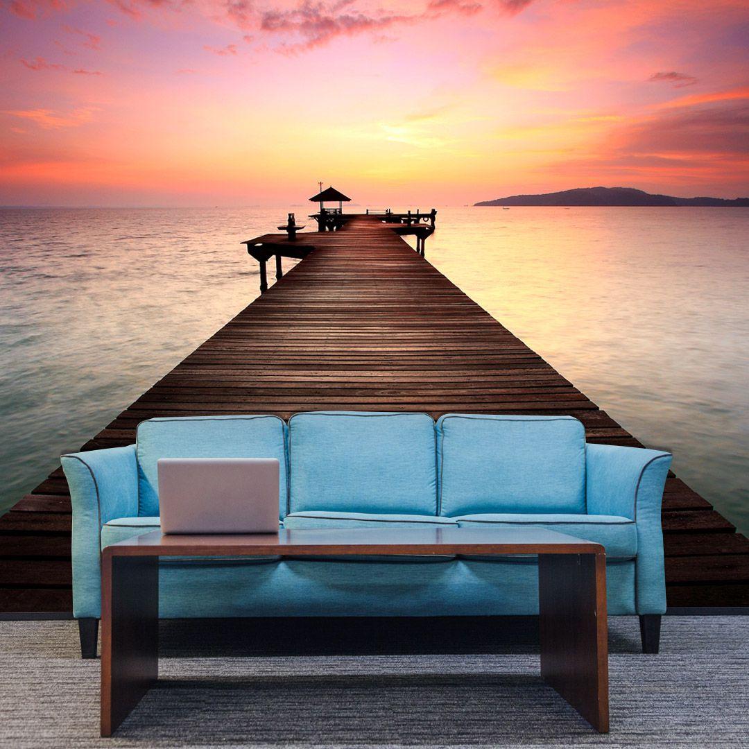 Papel de Parede Adesivo Personalizado, Deck, Lago, Rio, Paisagem  - Final Decor